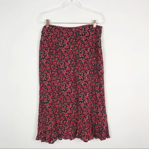 Christopher & Banks Floral Midi Skirt Black Red 14